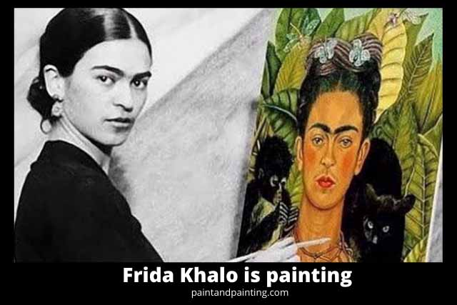 Frida Khalo is painting her self portrait.