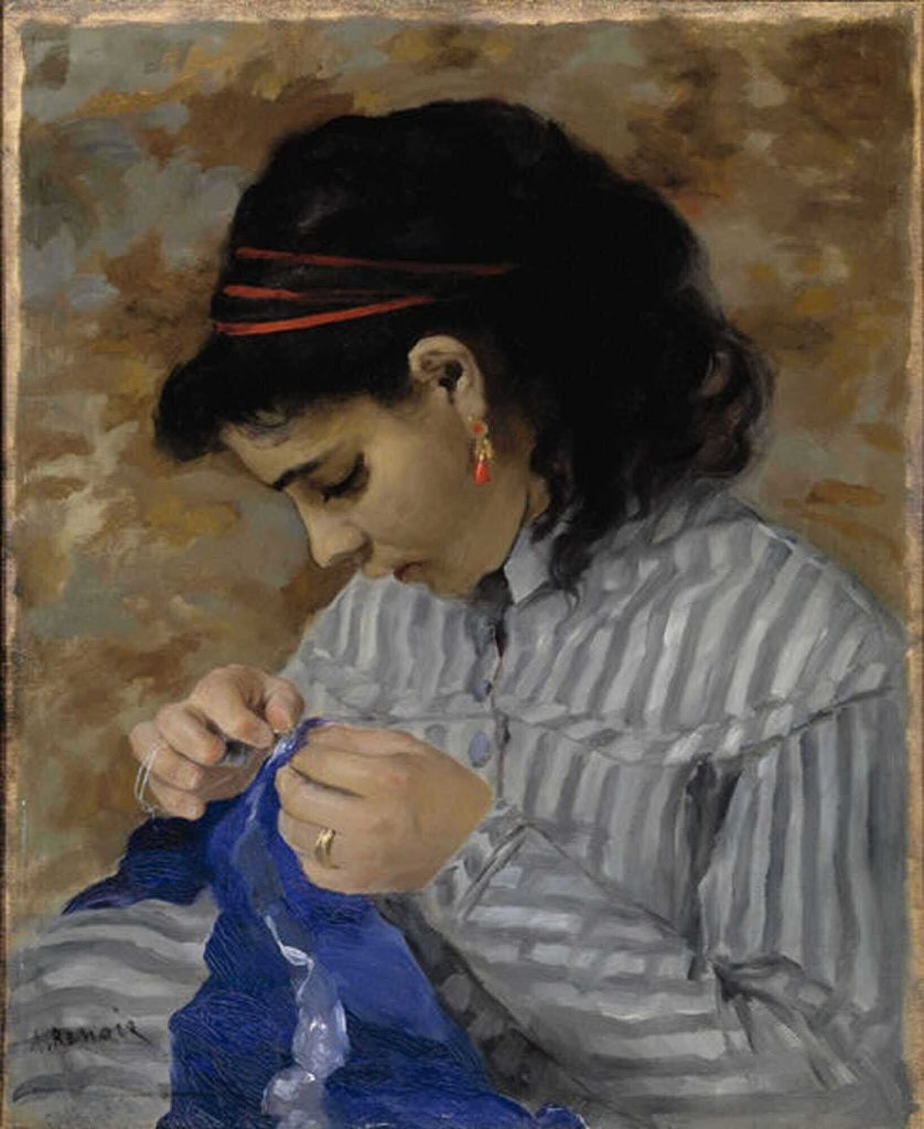 Lisa Sewing by Renoir