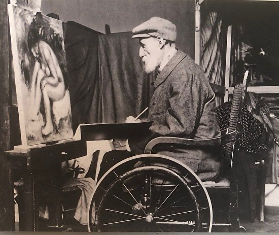 Pierre-Auguste Renoir is sitting in Wheel Chair